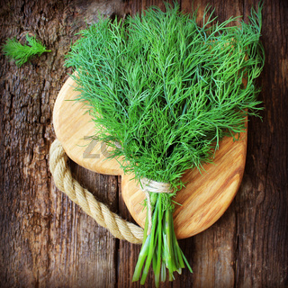Fresh organic dill for cook put on wooden cutting board