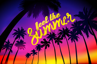 Summer tropical background with palms, sky and sunset. Summer placard poster flyer invitation card. feel the Summer.