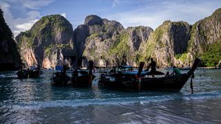 Longtail boats at Maya Bay Ko PhiPhi