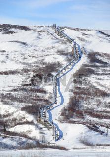 Trans-Alaska Oil Pipeline in the Alaska Range in Spring