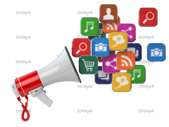 Megaphone with cloud of application icons. Digital marketing concept.