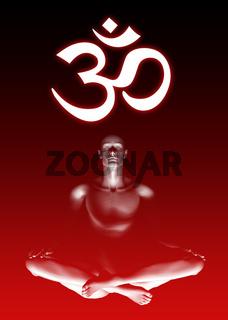 Aum om sign meditation - red black