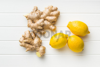 Ginger root and lemons.