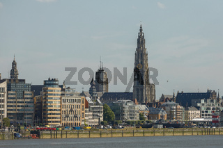 View of a port of Antwerp and cathedral of our lady in Belgium over the river