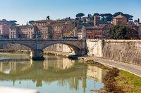 View from Sant Angelo bridge along Tiber River.