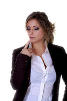 Geschäftsfrau Blazer Bluse Finger zum Mund