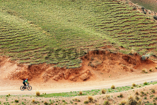 Mountain biker on rural road