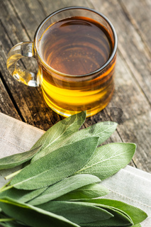 Sage tea and leaves.