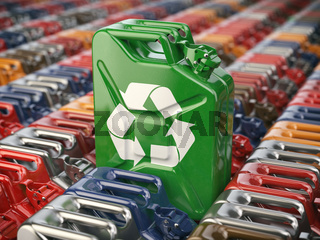 Green jerrycan  with recycle sign against the background of many others cans. Bio fuel, recycling and energy consrevation concept.