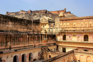 View of zenana in the fourth courtyard of Amber Fort, Rajasthan, India