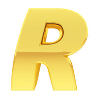 Gold alphabet symbol letter R with gradient reflections isolated on white. High resolution 3D image