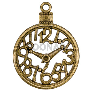 Filigree in the form of a clock, decorative element for manual work, isolated on white background