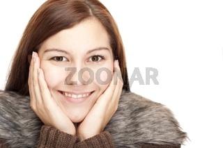 Nahaufnahme einer schönen glücklichen entspannten  Frau