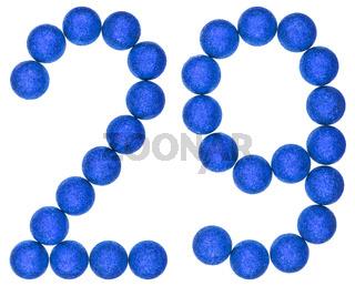 Numeral 29, twenty nine, from decorative balls, isolated on white background