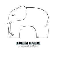 elefant - vereinfachte skizze als logo oder illustration