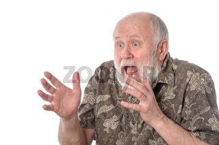Shocked senior man with grimace of fear, isolated on white
