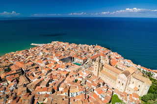 Aerial view of the Cefalu cathedral, Sicily, Italy.