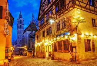 Christmas decoration lights at night in Rothenburg ob der Tauber, Germany