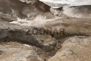 Island, Solfatarenfeld am Krater Stóra Víti