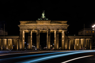 Brandenburg Gate at Night in Berlin, Capital of Germany
