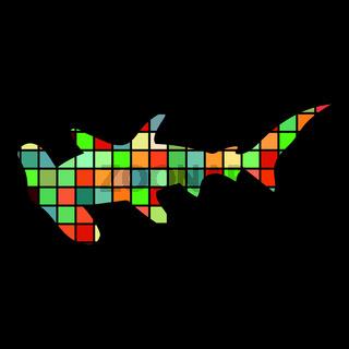 Shark hammerhead predator nautical color silhouette animal