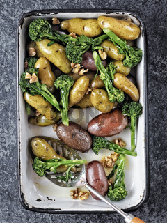 tray of potato broccolini salad