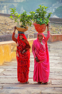 Local women carrying pots with plants on their heads at Amber Fort, Rajasthan, India