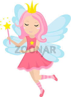 Cute little fairy icon, cartoon style. Isolated on white background. Vector illustration.