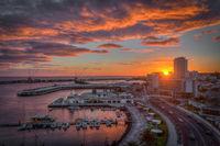 burning sky sunset view at harbor of ponta delgada