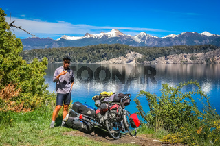 Cyclist break by the lake