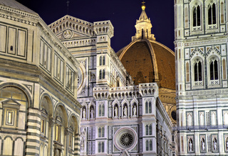 Details of the Florence Cathedral at night