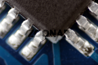 macro photo of electronic circuits on a pcb board