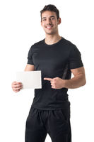 Personal Trainer Holding an Empty Card