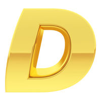 Gold alphabet symbol letter D with gradient reflections isolated on white. High resolution 3D image