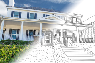 Beautiful Custom House Drawing and Photo Combination on a White Background.