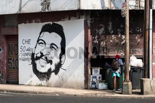 Portrait of  Ernesto  Che  Guevara, the   Argentine Marxist revolutionary and guerrilla of the Cuban revolution in Panama City