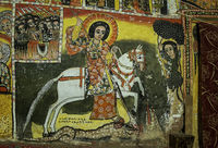 Der Heilige Georg auf einem weissen Pferd, Felsenkirche Maryam Papaseyti, Gheralta, Tigray,Äthiopien