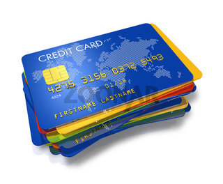 stack of multi colored credit cards