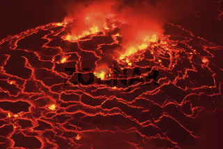 Mouth of the volcano with magma. Molten magma in the muzzle