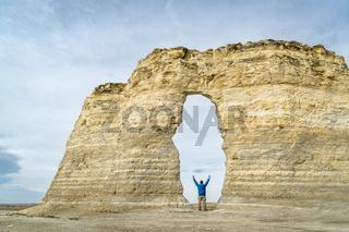 arch in Monument Rocks in western Kansas prairie