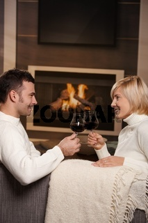 Romantic couple at home