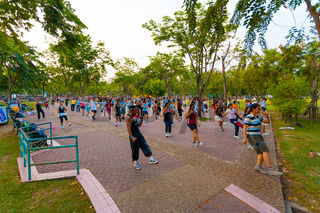 Lumpini Park Group Aerobics Exercise Bangkok