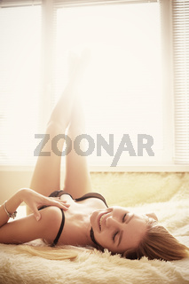 girl lying in sunlight