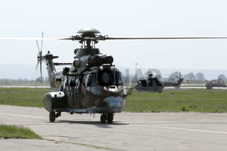 Military helicopters at the airport