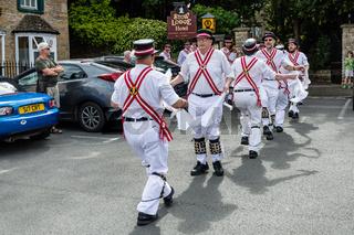 Tradictional folk dancers. Morris Dancers in the Cotswolds