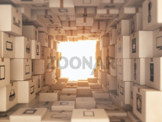 Internet online shopping and delivery concept. Household kitchen appliances and home technics in boxes.E-commerce abstract background from carton boxes.