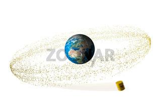 gelbe Fässer mit Atommüll umkreisen den Planeten Erde