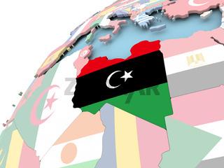 Libya on globe with flag