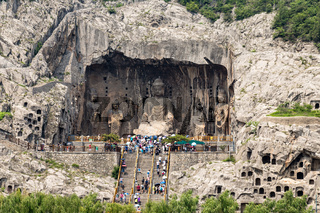 Fengxiangsi Cave, the main one in the Longmen Grottoes in Luoyang, China.