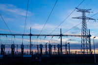 High-voltage power lines at electricity distribution station